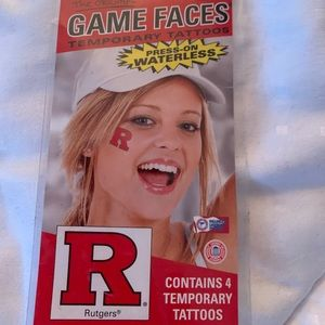 Rutgers Game Faces press on temporary tattoos